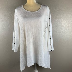 Alfred Dunner Cream Crinkle Fabric Button Tunic